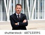 portrait of serious older... | Shutterstock . vector #687133591
