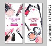 summer sale banner. cosmetics... | Shutterstock .eps vector #687134521