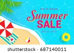 summer sale banner vector... | Shutterstock .eps vector #687140011
