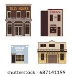 set of wild west western vector ... | Shutterstock .eps vector #687141199