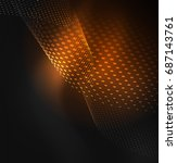 glowing particles wave design... | Shutterstock .eps vector #687143761