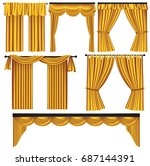 set of golden luxury curtains... | Shutterstock .eps vector #687144391