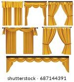 set of golden luxury curtains... | Shutterstock .eps vector #687144391