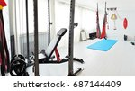 home gym. private gym at home ... | Shutterstock . vector #687144409
