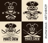 pirate emblems with a skull in...