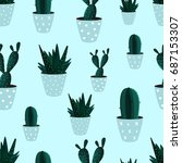 seamless pattern. cactus....   Shutterstock .eps vector #687153307
