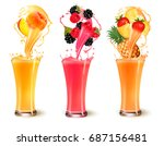 set of fruit juice splash in a... | Shutterstock .eps vector #687156481
