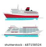 spacious luxury cruise liner... | Shutterstock .eps vector #687158524