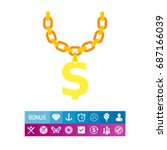 golden chain with dollar symbol ... | Shutterstock .eps vector #687166039