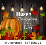 autumn leaves and pumpkins on... | Shutterstock .eps vector #687168121