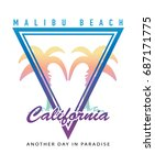 malibu beach california... | Shutterstock .eps vector #687171775