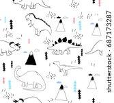 dinosaur pattern illustration... | Shutterstock .eps vector #687173287