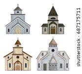 Church Buildings Set. Isolated...