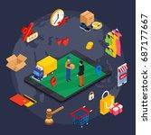 online shopping isometric... | Shutterstock .eps vector #687177667