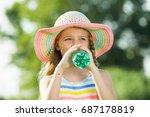 happy girl in elementary school ... | Shutterstock . vector #687178819