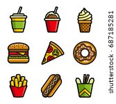 fast food colored icon set.... | Shutterstock . vector #687185281