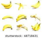 ripe bananas set isolated on... | Shutterstock . vector #68718631