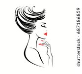 beautiful woman with elegant... | Shutterstock .eps vector #687186859