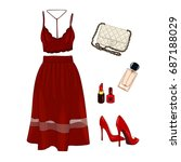 vector of hand drawn fashion... | Shutterstock .eps vector #687188029