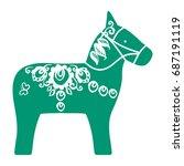 green dalecarlian dala horse... | Shutterstock .eps vector #687191119