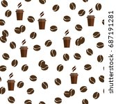 tea or coffee cups seamless... | Shutterstock . vector #687191281