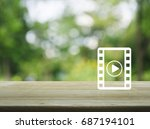play button with movie icon on... | Shutterstock . vector #687194101