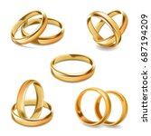 gold wedding rings pair vector... | Shutterstock .eps vector #687194209