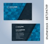 business card template. blue... | Shutterstock .eps vector #687194749