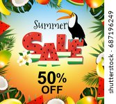 summer sale poster with toucan  ... | Shutterstock .eps vector #687196249