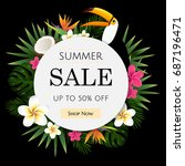 summer sale tropical banner ... | Shutterstock .eps vector #687196471