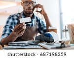 african american male owner...   Shutterstock . vector #687198259