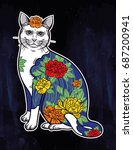 folklore sticker cat with... | Shutterstock .eps vector #687200941