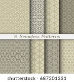 set of 8 seamless islamic... | Shutterstock .eps vector #687201331