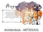 watercolor background of prague.... | Shutterstock .eps vector #687201421