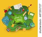 back to school banner. paper...   Shutterstock .eps vector #687201727