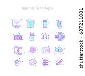 set of linear outline icons of... | Shutterstock .eps vector #687211081