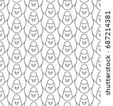 seamless pattern with stylize... | Shutterstock .eps vector #687214381
