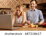 enthusiastic committed couple... | Shutterstock . vector #687218617