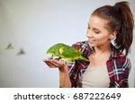 parrot sitting on a girls hand... | Shutterstock . vector #687222649
