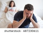 sad and thoughtful man after... | Shutterstock . vector #687230611
