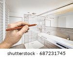 drawing renovation of a luxury... | Shutterstock . vector #687231745
