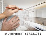 drawing renovation of a luxury... | Shutterstock . vector #687231751