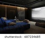 home theater room   luxury... | Shutterstock . vector #687234685