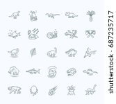 dinosaur icons vector. dinosaur ...   Shutterstock .eps vector #687235717