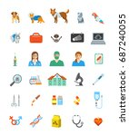vet clinic services icons. pet... | Shutterstock . vector #687240055