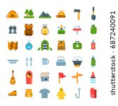 summer camping icons. flat... | Shutterstock . vector #687240091