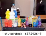 pallet and bottle painting... | Shutterstock . vector #687243649