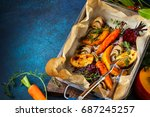 oven roasted vegetables with... | Shutterstock . vector #687245257