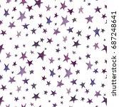 cute seamless watercolor stars... | Shutterstock . vector #687248641