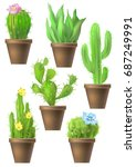 set of cactus images | Shutterstock .eps vector #687249991